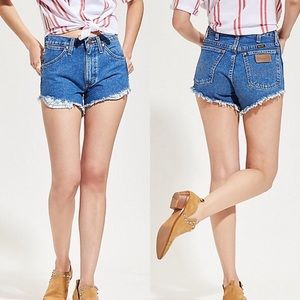 Wrangler High Rise Reworked Denim Cut Off Shorts